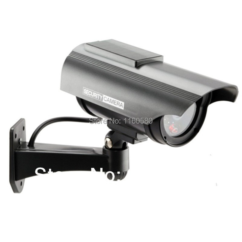 Indoor Outdoor Solar Powered Fake Dummy Security Camera with LED Light Waterproof CCTV Camera Free Shipping wholesale(China (Mainland))