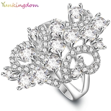 Buy Yunkingdom Charm Vintage Design Ring White Gold Color Rings Women White Cubic Zirconia Ring Bride's Wedding Jewelry ALP0661 for $3.24 in AliExpress store
