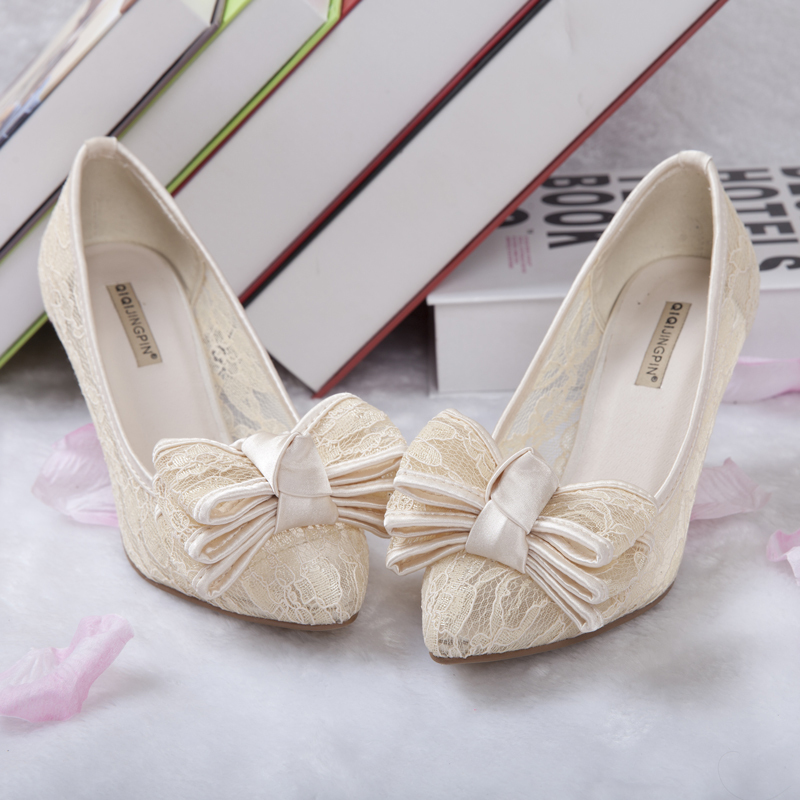 2014 women cutout satin fabric high heel sexy lace wedding shoes shallow mouth bow pointed toe genuine leather bride pumps sys-5<br><br>Aliexpress