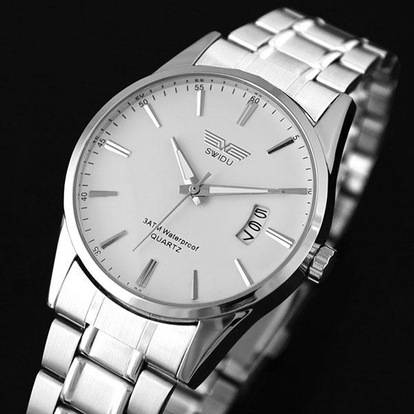 Гаджет  HQ Super Stainless Steel Band Date Analog Quartz Sport Mens Wrist Watch Sliver None Ювелирные изделия и часы
