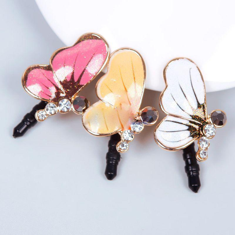Mobile phone accessories Bling Rhinestone Cute Butterfly Anti Dust Plug Cover Charm Plugs for Mobile Cell Phone Dust for iPhone(China (Mainland))
