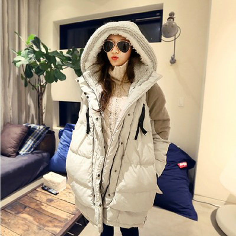 Фотография  2016 New Winter Duck Down Jacket Loose Women Long Coat Parkas Thickening Hooded Ladies Warm Cotton Wadded Outwear High Quality
