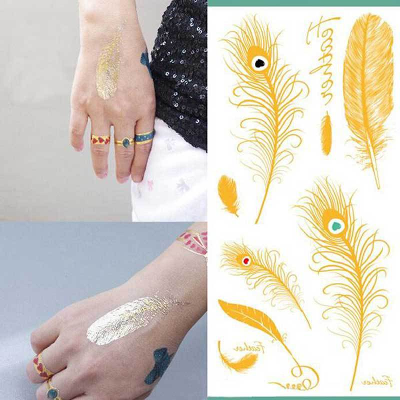 Gold Paint For Metal Metal Tatoos Gold Feather
