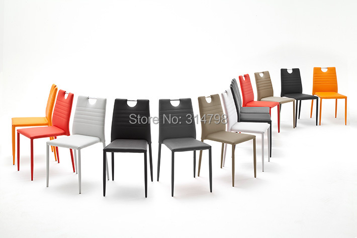 2015 colorful pu dining chair with handle black red pu for Colorful leather dining chairs