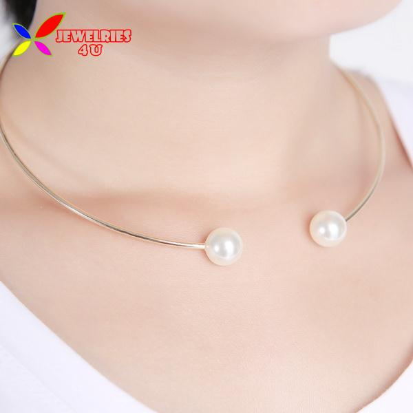2014 fashion hot luxury double small faux pearl designer dress false collar choker pendant & necklace women bijoux - Jewelries4U **Min. order is $10** store