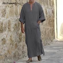 2019 มุสลิมแฟชั่นผู้ชายอิสลามผ้า Jubah Thobe Robes Kaftan กระเป๋าขนาด Solid อาหรับดูไบแขนสั้น Abaya (China)
