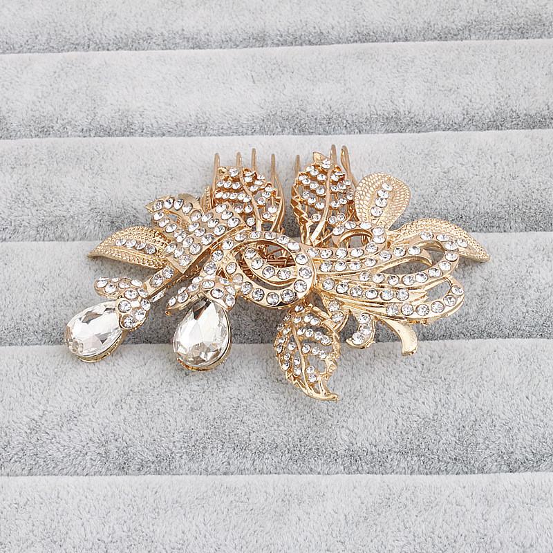 2016 золотые листья горный хрусталь свадебный головной убор щедрый люкс волосы расческой аксессуары женщины ювелирные изделия