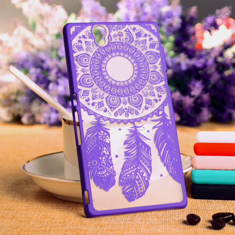 Hard Plastic Protective Phone Cases For Sony Xperia Z L36h Housing C6602 Case Fashion Dreamcatcher Flower Fundas Back Cover(China (Mainland))