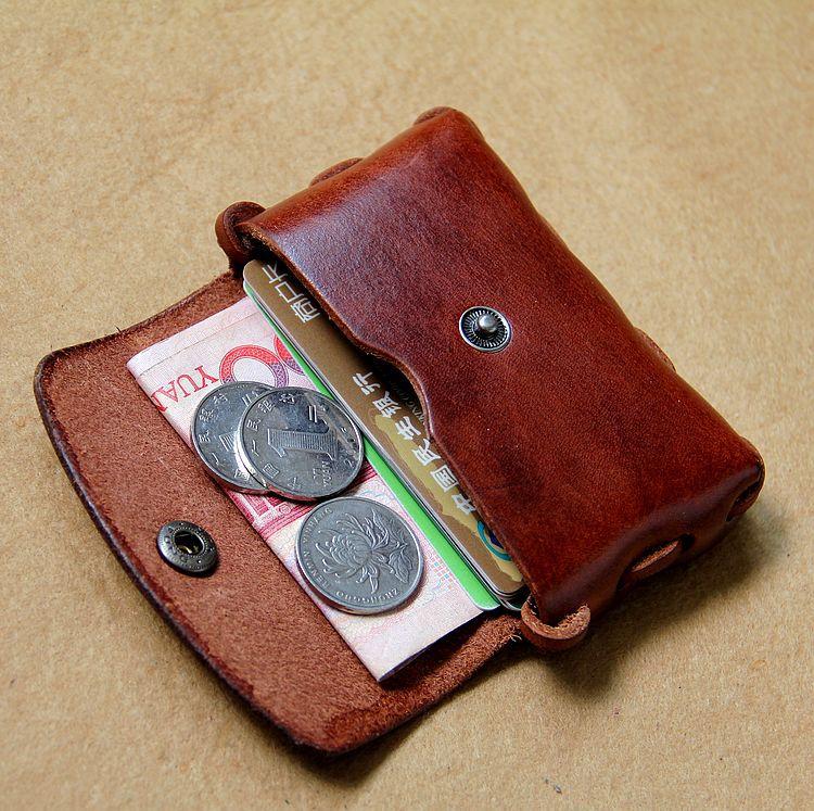 Vintage vegetable tanned genuine leather credit card for Vintage business card case