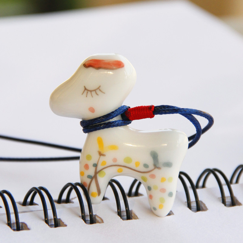 Jingdezhen Ceramic Necklace Jewelry Cartoon Pendants New Fashion Cute For Children Accessories Wholesale(China (Mainland))