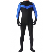 Nightwing Cosplay Costumes Holloween Party Zentai Suits Elastic Lycar Fabric Cheaper Theme Costumes Black And Blue DCC57
