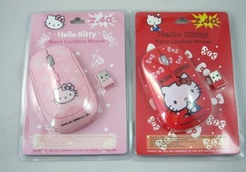 Hello Kitty wireless mouse, 2011 New, Free shipping, 10pcs/lot, carton mouse with USB, pink and red