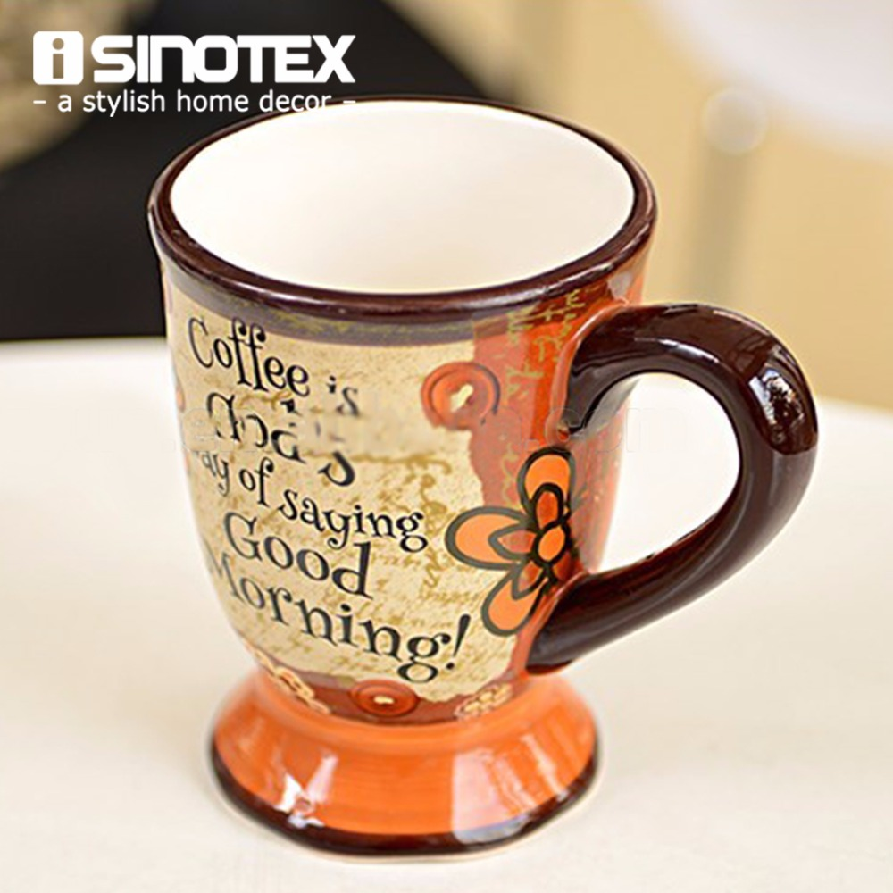 Ceramic Coffee Cups With Fancy European Style Pattern Printed Traditional Classic Pottery Tea Cups Fashion(China (Mainland))