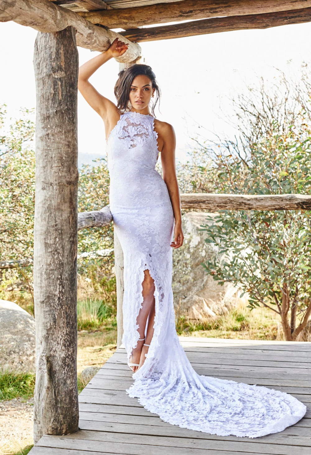 Buy boho country style high neck lace for Bohemian style wedding dresses for sale
