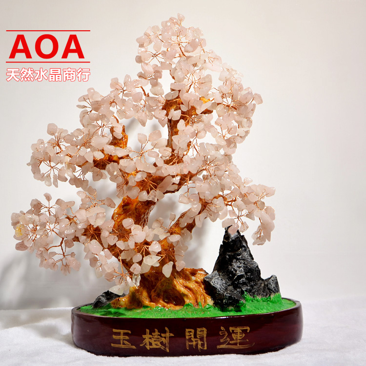 Quality wedding gifts natural pink crystal lucky tree bonsai new house decoration home accessories crafts decoration(China (Mainland))