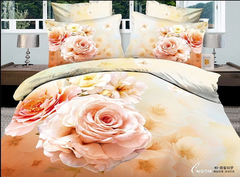 4PCS full queen Free shipping 3D orange yellow rose flowers white bedding luxury girls comforter set bedding set duvet covers(China (Mainland))