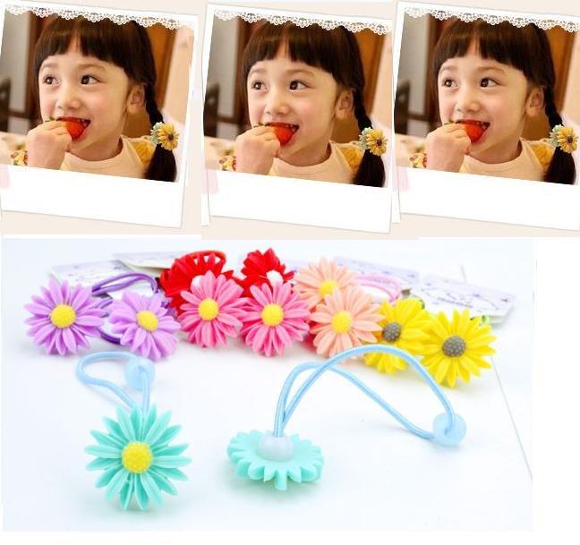 Freeshipping!! New Cute Baby daisy Flower elastic Hair Band / Hair ties / hair accessories/ wholesale(China (Mainland))