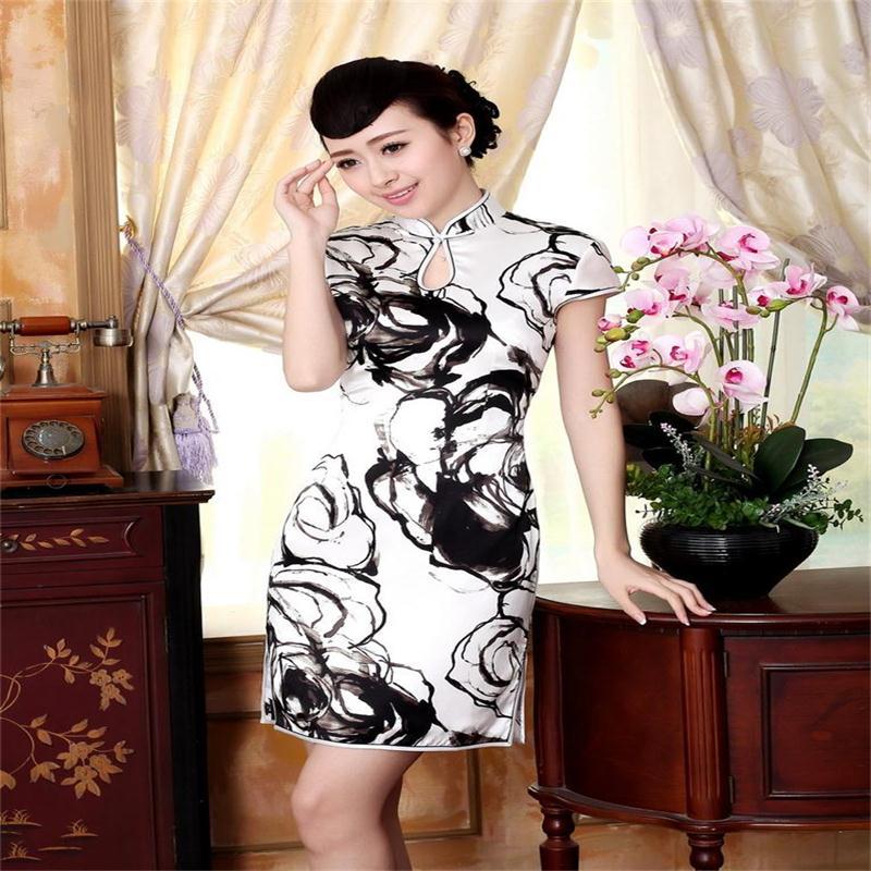 QIpao Summer New 2015 100% Silk Chinese Womens Mini dress Cheongsam White And Black Z0019 Printing Qipao Sz: S M L XL XXLОдежда и ак�е��уары<br><br><br>Aliexpress