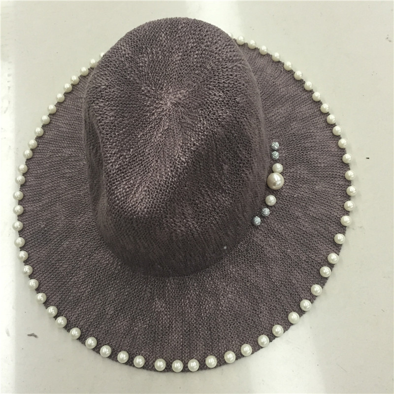 High quality summer fedora hat for women cowboy ladies hats for church Hats with pearl sombreros hombre black brown(China (Mainland))