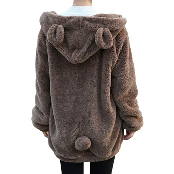 Women gardigan hoodies Girl Winter Loose Fluffy Bear Ear Hoodie Hooded Jacket Warm Outerwear Coat cute sweatshirt H1301