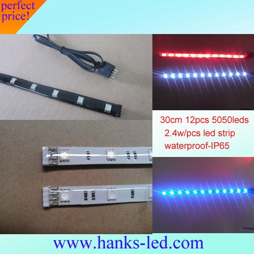 Free shpping FACTORY!!Wholesale 30CM 12leds SMD 5050 flexible led strip waterproof light(China (Mainland))