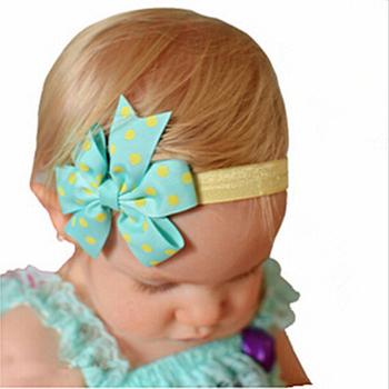 1 X Newborn Baby Kids Girl Headband Infant Toddler Bowknot Dot Ribbon Bow Hairband Headband Children Hair Band Accessories