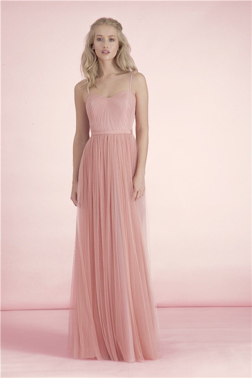 Pastel peach floor length formal goddess gown bridesmaid for Pastel dresses for wedding guests