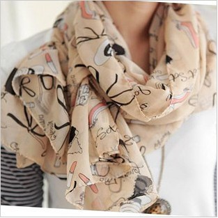 1pcs free shipping Wholesale Lipstick high-heeled shoes momens scarf scarves shawls MT-1009