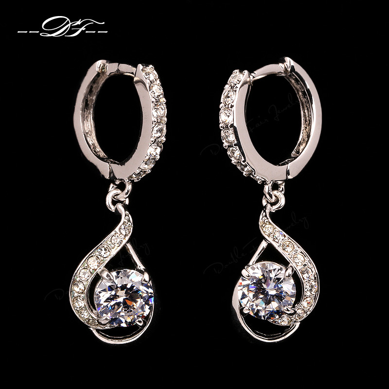 Cubic Zircon Vintage Drop/Dangle Earrings Platinum Plated Silver Color CZ Diamond Fashion Wedding Jewelry For Women DFE686M(China (Mainland))