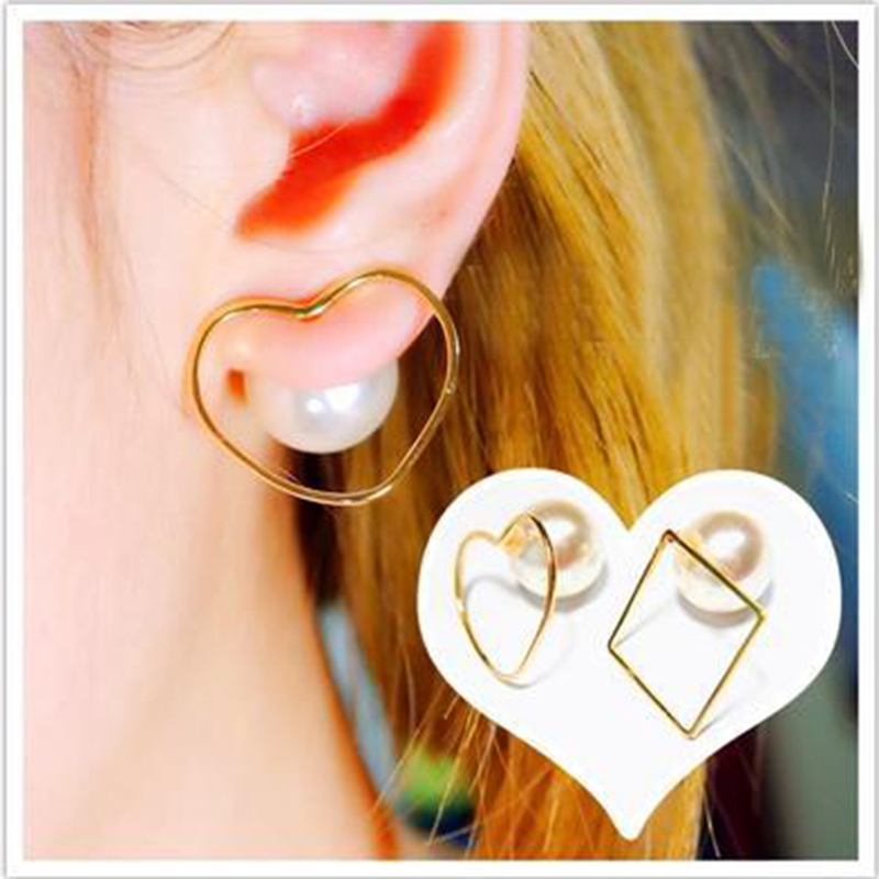 New Fashion Double Side Hollow Heart Star with Imitation Pearl Stud Earrings for Women Girl Piercing Pearls Jewelry(China (Mainland))