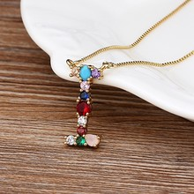New Arrival Hot Sale Personalized Name Letter Necklace Rainbow CZ Initials Alphabet Women Girls Gorgeous Family Jewelry Gift(China)