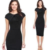 New summer women's fashion dress sleeveless hip pockets Bow Irregular neckline Professional European and American style dress