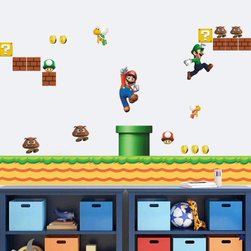 super mario game wall stickers kids room home decor playroom kindergarten  cartoon boys girls decals mural art Poster wallpaper. Online Get Cheap Mario 3d Wall Murals Wallpaper  Aliexpress com
