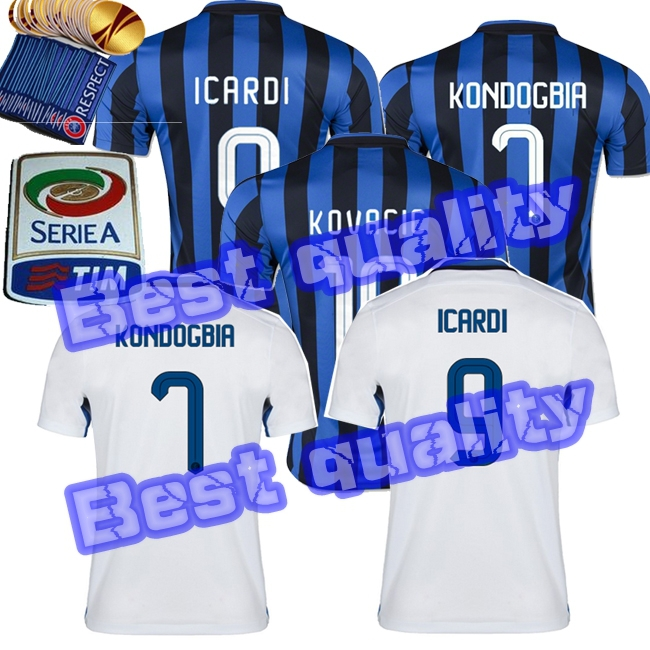 maillots de football Inter Milanoer KOVACIC 15 16 Camiseta white Football Jersey GUARIN ICARDI Milan 2015 2016 Soccer Jersey(China (Mainland))