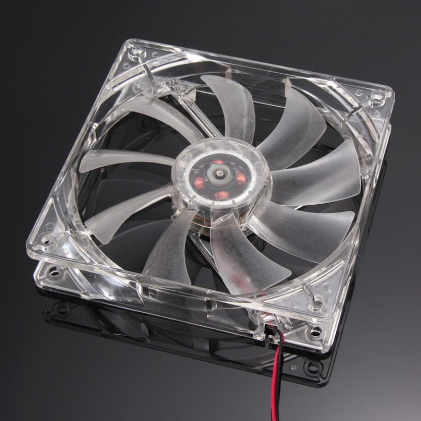 Hot selling Binmer Quad 4-LED Light Neon Clear 120mm PC Computer Case Cooling Fan Mod Jul.6(China (Mainland))