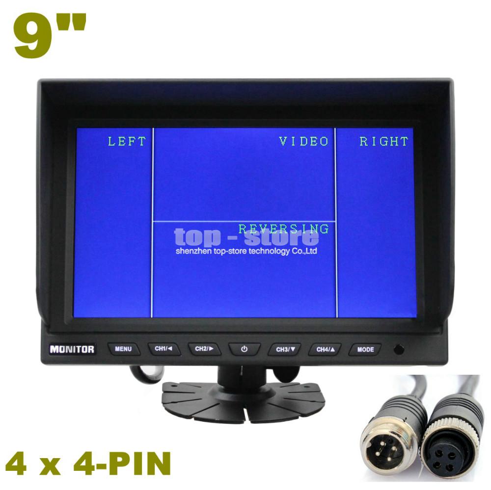 4CH 4PIN DC12V-24V 9 Inch 4 Split Quad LCD Screen Display Color Rear View Car Monitor For Car Truck Bus Reversing Camera(China (Mainland))
