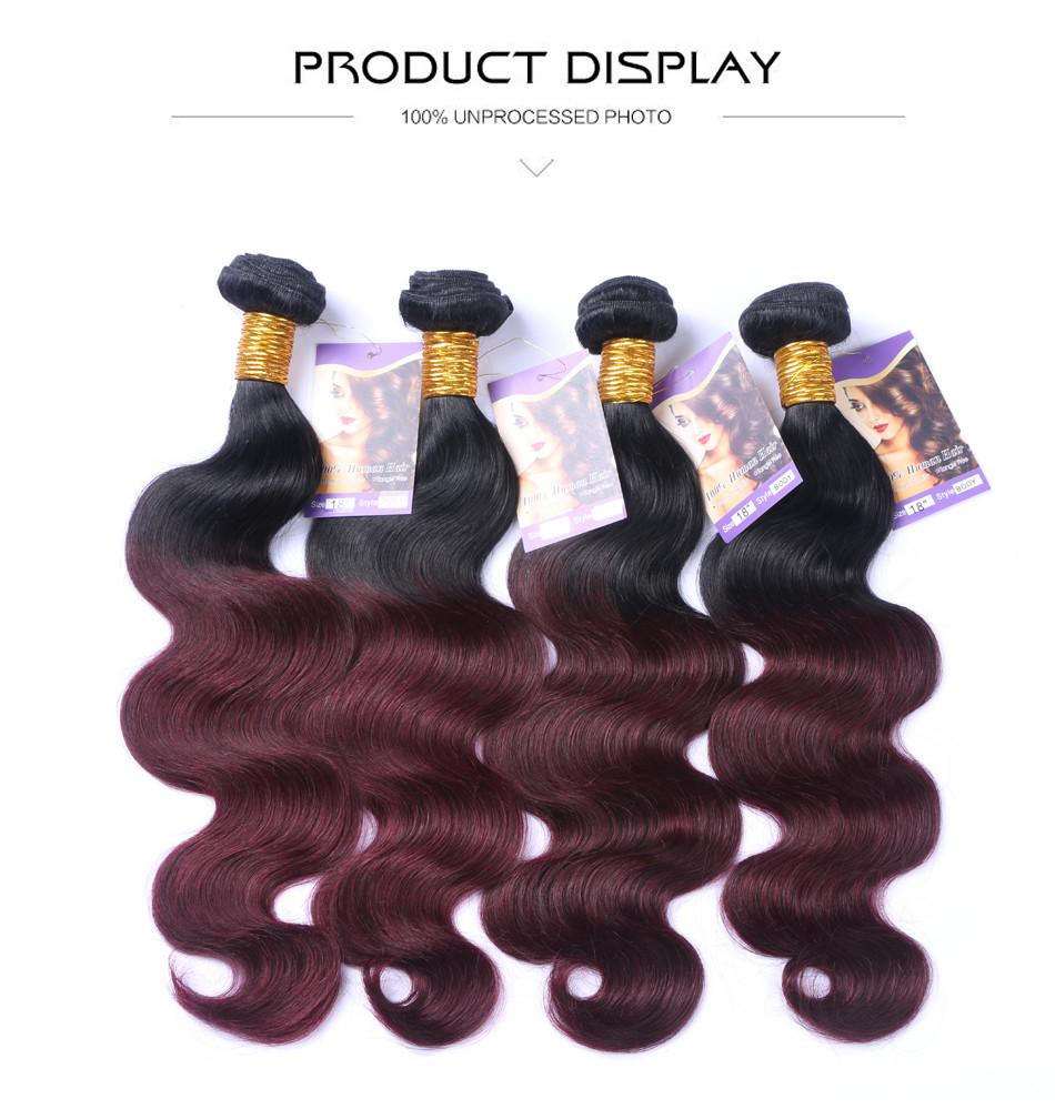 Cheap Ombre Brazilian Virgin Hair With Closure Body Wave 3/4 Bundles 99J Ombre Burgundy Brazilian Hair Weave Bundles And Closure