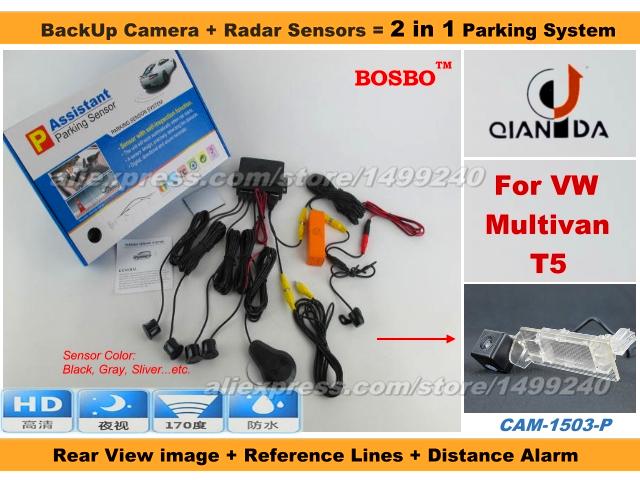 Фотография For VolksWagen VW Multivan T5 - Car Parking Sensor+ Rear View Camera 2in1 Assistance System - 4 Radars