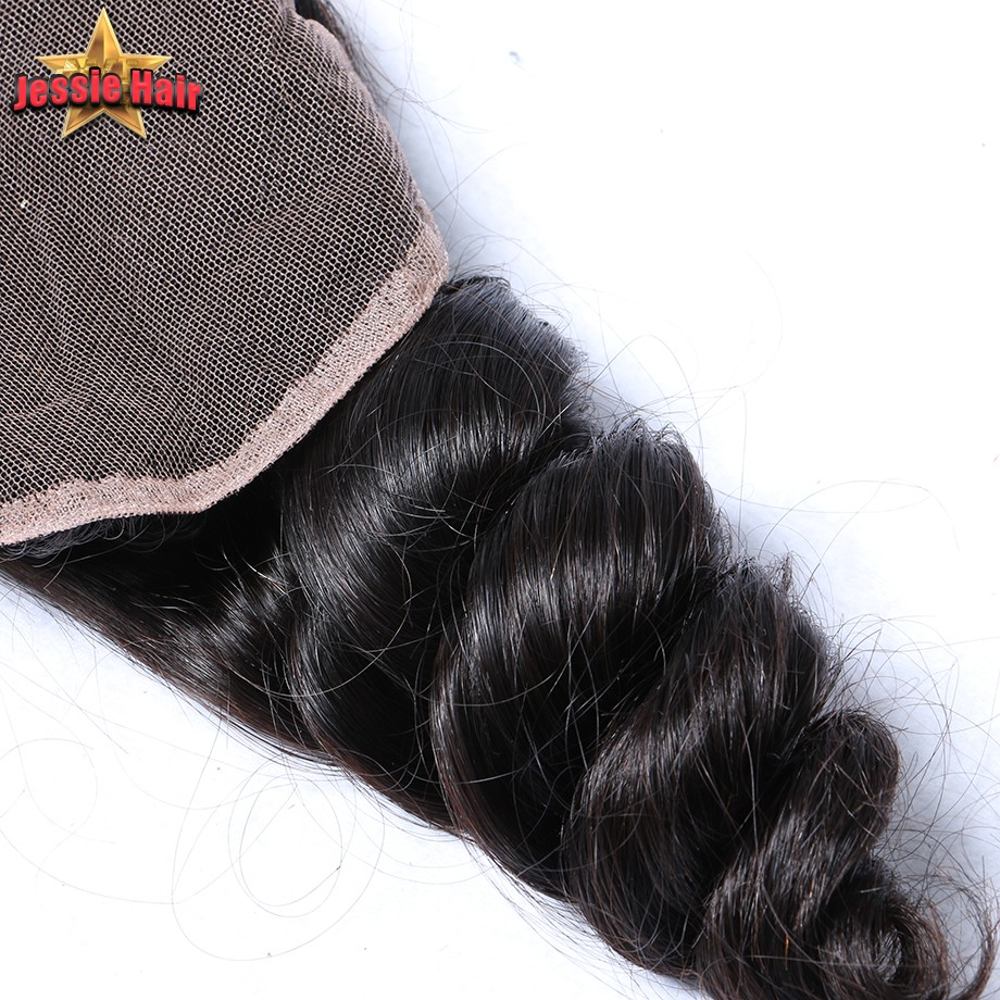 Unprocessed Brazilian Loose Wave Closure Virgin Human Hair Lace Closure Bleach Knots Free Middle 3 Part Lace Front Closure Piece