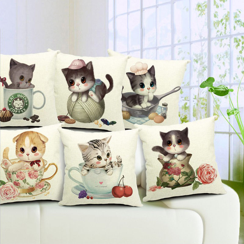 Home Garden Decor Linen sofa Pillow cushion Pillowcase cute tea cup cat gift 1pc(China (Mainland))