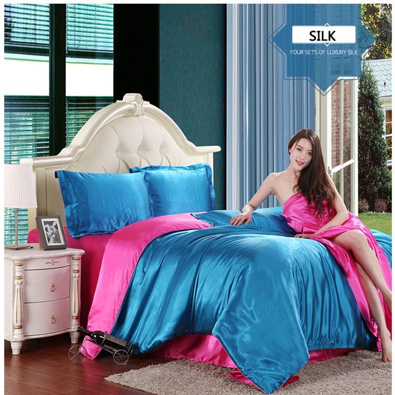 Hot 100 Pure Satin Silk Bedding Set Home Textile Full