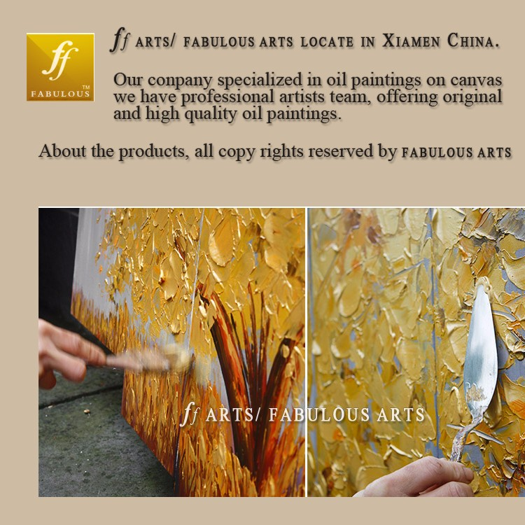 Buy Fabulous arts Hand-painted High Quality Golden Wish Tree Oil Painting On Canvas White Petal Knife Oil Painting For Living Room cheap