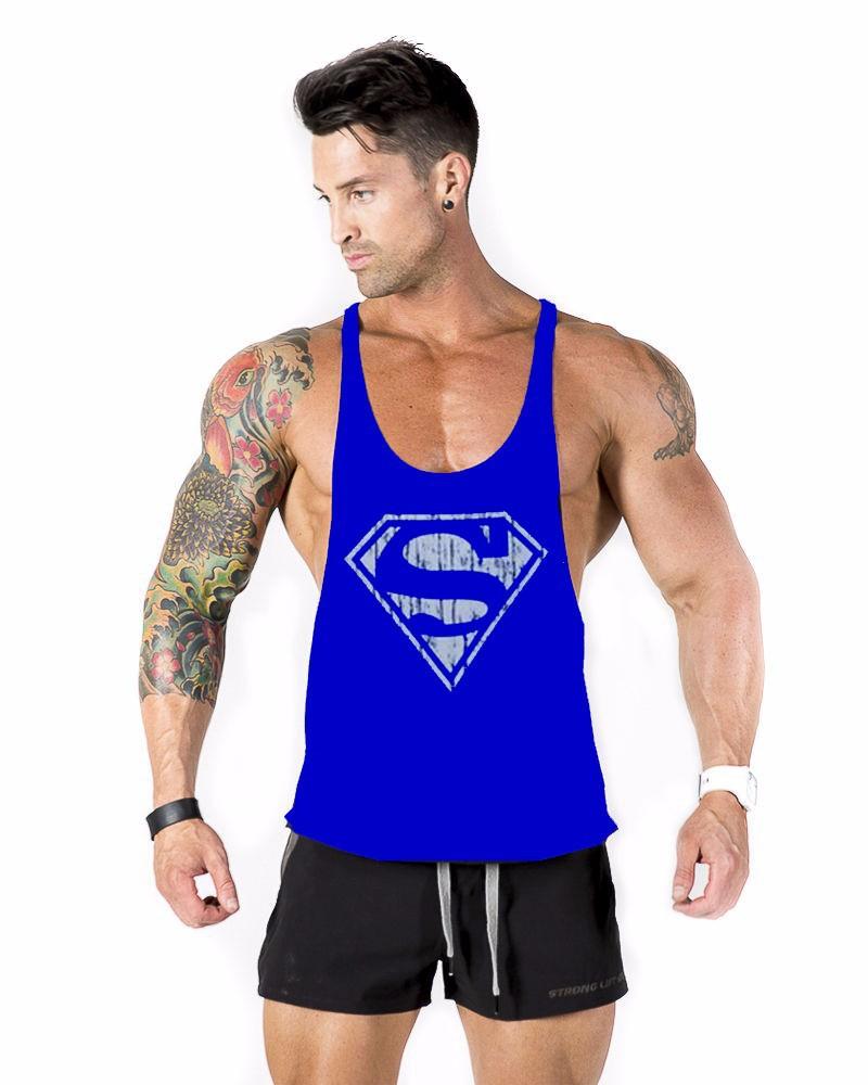 2015 new summer sport man tank top cotton superman gym vest gasp o neck sleeveless singlet men. Black Bedroom Furniture Sets. Home Design Ideas