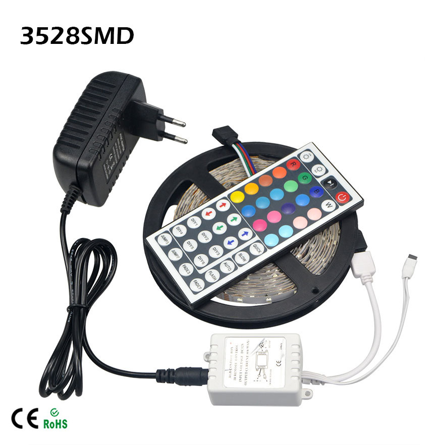 5M RGB 3528 SMD LED Flexible Strip light 60LEDs / M Ribbon 44Key IR Remote Controller / DC 12V 3A Power Adapter Home decoration(China (Mainland))