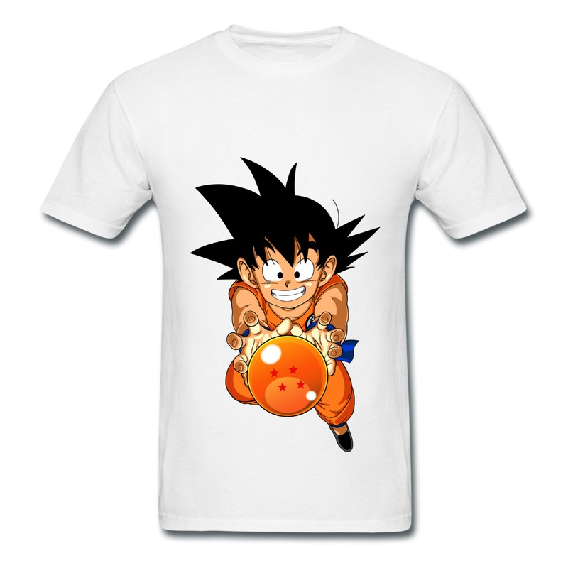 On Sale Pre-Cotton Shirt Mans Kid goku holds the dragon ball Customized Cute Quote Teeshirts for Boy(China (Mainland))