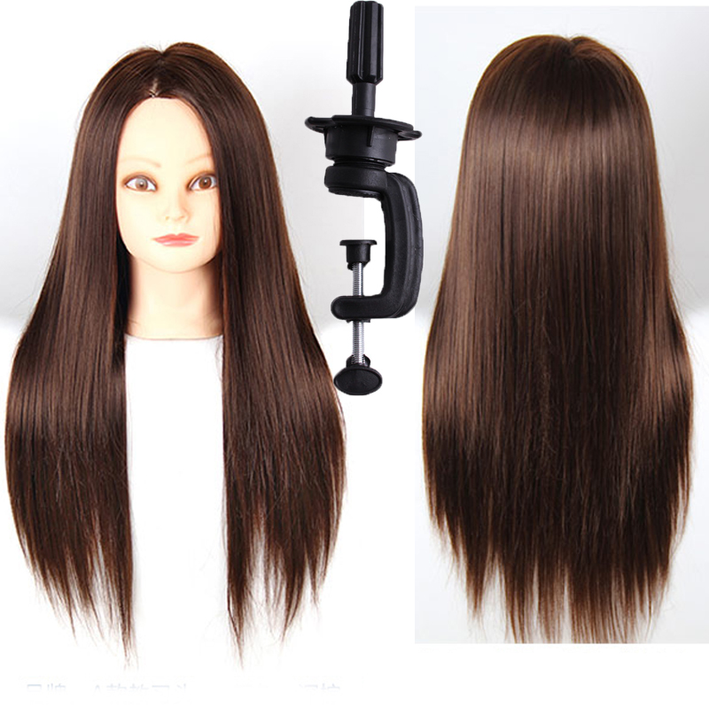 """Salon Hairdressing Cosmetology Synthetic Hair Dark Brown Wig Training 18""""Head Mannequin Makeup Practice Wig Stand Head + Clamp(China (Mainland))"""