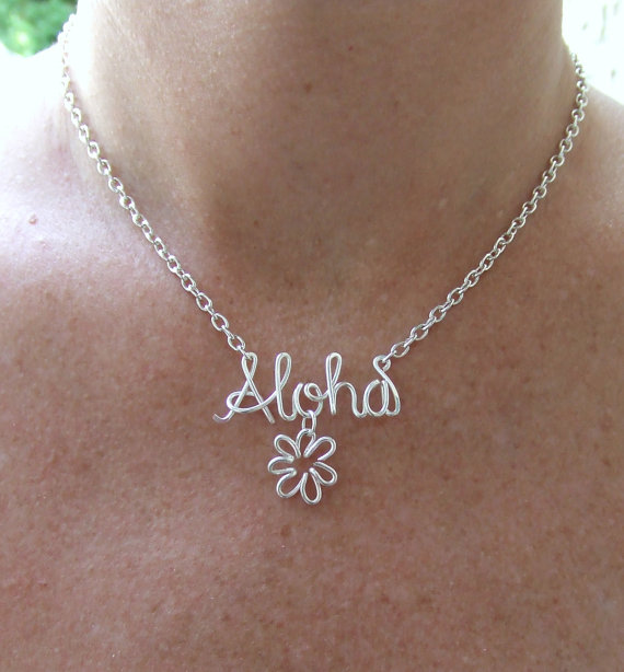 Custom Name Hawaiian Necklace handmade DIY 14K Gold/Silver Word Greeting stackable gift Wire Wrap Jewelry woman Gifts collier(China (Mainland))