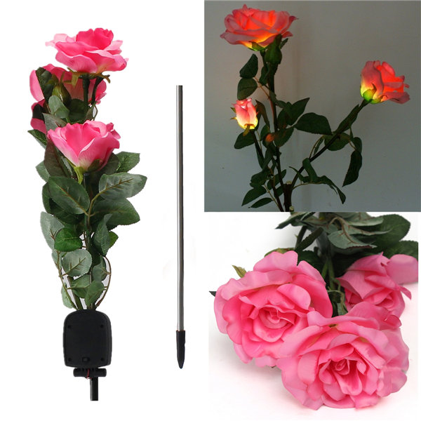 Hot Sale Solar Power 3 Rose Flower LED Light Garden Yard Lawn Decoration View Lamp Red/Yellow/White/Pink