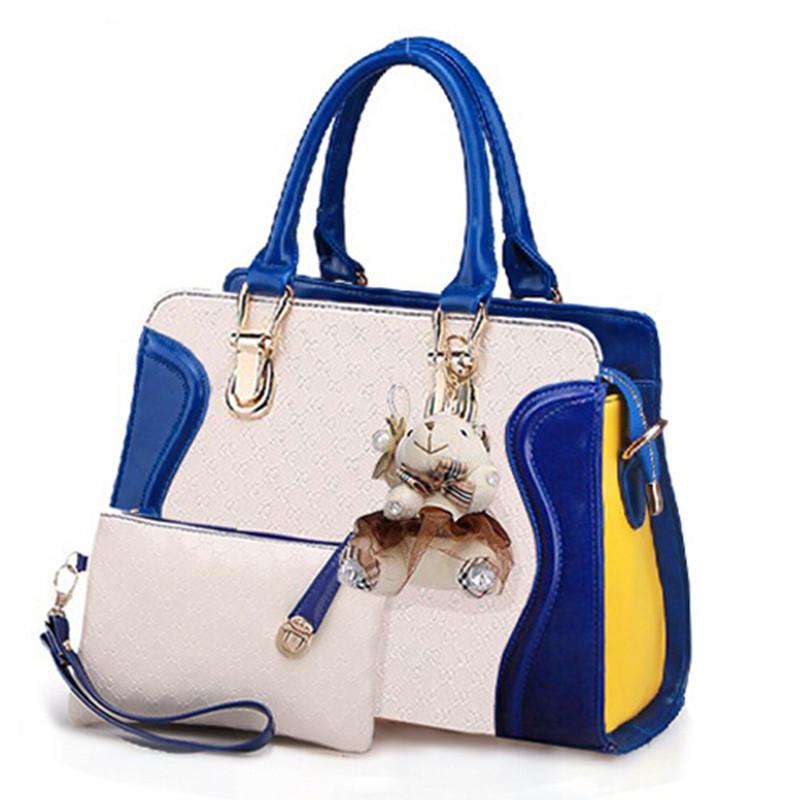 2016 New Casual Patent Leather Embossed Designer Handbags Socialite Women Messenger Bags Fashion Shoulder Bag 2 Bags/Set