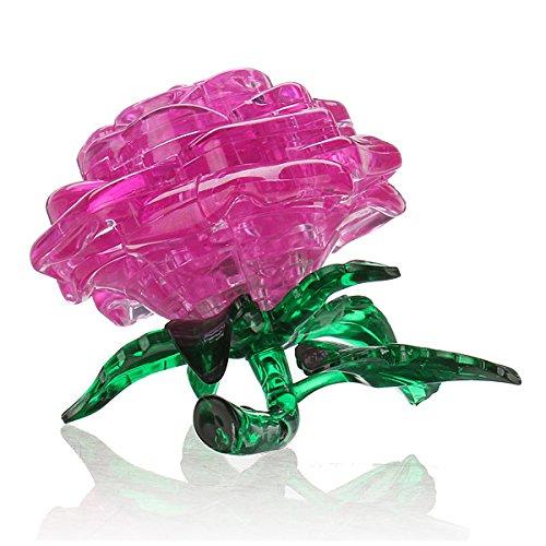 3D Crystal Cube Jigsaw Model DIY Rose IQ Toy Gadget pink(China (Mainland))